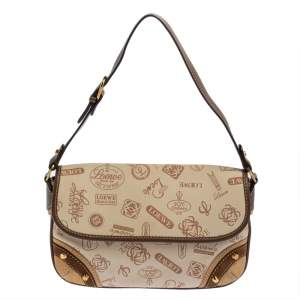 Loewe Brown/Beige Canvas, Leather and Suede 160th Anniversary Flap Shoulder Bag