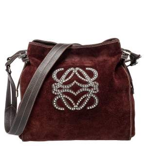 Loewe Burgundy Suede Crossbody Bag