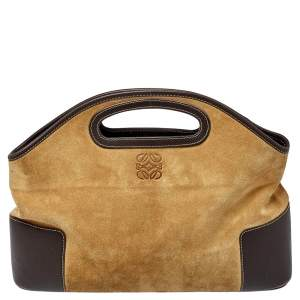 Loewe Tan/Brown Suede and Leather Cut Out Tote