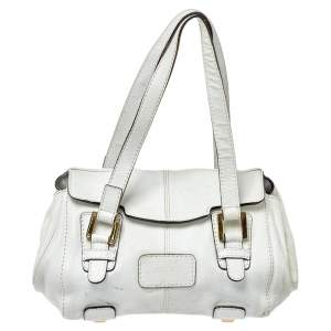 Loewe White Leather Logo Flap Satchel