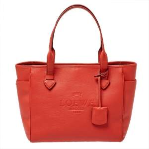 Loewe Orange Leather Shopper Tote