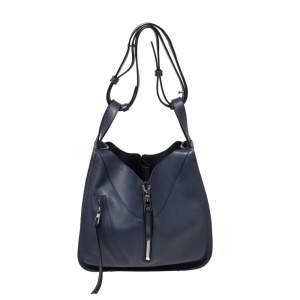 Loewe Navy Blue Leather Hammock Drawstring Shoulder Bag