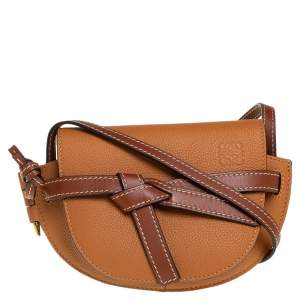 Loewe Caramel Brown Leather Mini Gate Crossbody Bag