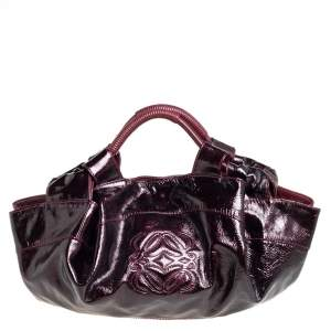 Loewe Burgundy Patent Leather Aire Hobo