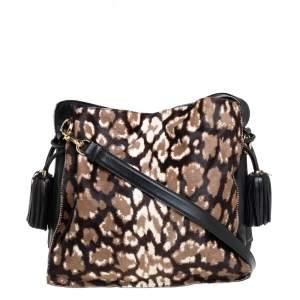 Loewe Black/Brown Leopard Print Calfhair and Leather Tassel Shoulder Bag