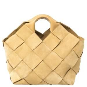 حقيبة يد لويفي باسكت جلد وسويدي مغزول بيج