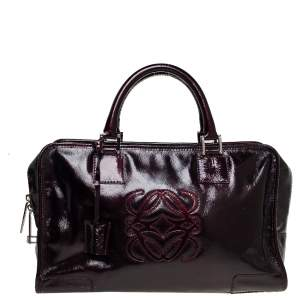 Loewe Dark Burgundy Patent Leather Amazona Satchel