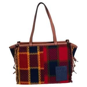 Loewe Multicolor Tartan Wool and Leather Tote