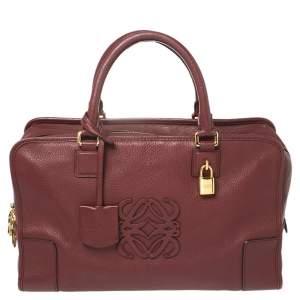 Loewe Burgundy Leather  Amazona Satchel
