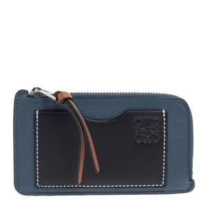 Loewe Blue/Black Leather Zip Card Holder