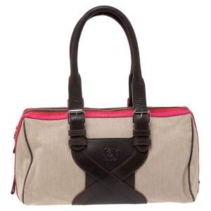 Loewe Multicolor Canvas And Leather Bowling Bag