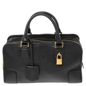 Loewe Black Leather Amazona Satchel
