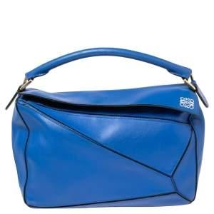Loewe Blue Leather Medium Puzzle Shoulder Bag