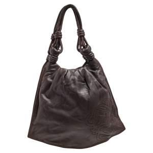 Loewe Dark Brown Leather Flamenco Knot Hobo