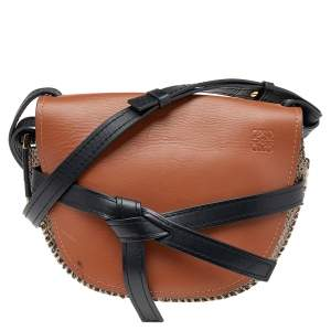 حقيبة كتف لويفي جوت وجلد أسود/بني
