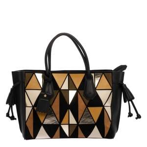 """حقيبة يد لونج شامب """"بينيلوبي ارتي"""" متوسطة سويدي و جلد متعدد الألوان و أسود"""