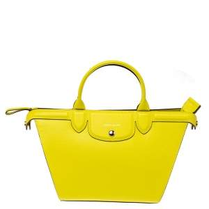 Longchamp Yellow Leather Le Pliage Heritage Tote