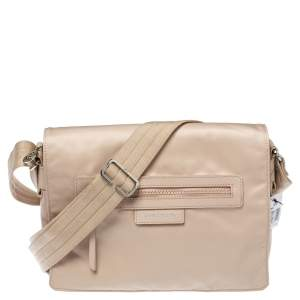 Longchamp Beige Nylon and Leather Messenger Bag