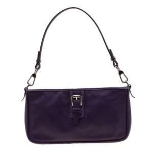 Longchamp Purple Leather Shoulder Bag
