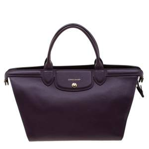 Longchamp Purple Leather Le Pliage Heritage Tote