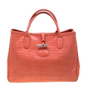 Longchamp Coral Croc Embossed Leather Roseau Tote
