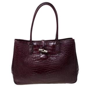 Longchamp Burgundy Crocodile Embossed Leather Roseau Tote