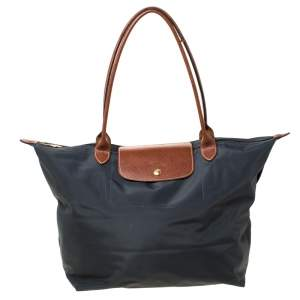 Longchamp Dark Grey Nylon and Leather Medium Le Pliage Tote