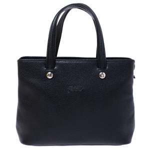 Longchamp Black Leather Shop-it M Tote