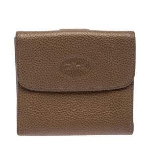Longchamp Beige Leather Flap Compact Wallet