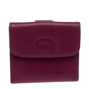 Longchamp Magenta Leather Flap Compact Wallet