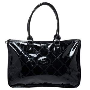Longchamp Black Printed Patent Leather Tote