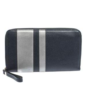 Longchamp Blue/Grey  Striped Leather Le Foulonne City Zip Around  Wallet
