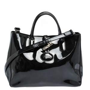 Longchamp Black Patent Leather Roseau Tote