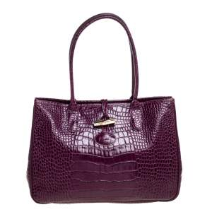 Longchamp Purple Crocodile Embossed Leather Roseau Tote