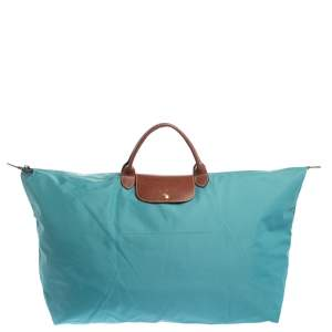 Longchamp Aqua Blue Nylon XL Le Pliage Tote