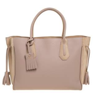 Longchamp Pink/Nude Leather Medium Penelope Fantasie Tote