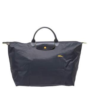 Longchamo Grey Nylon and Leather Le Pliage Weekender Tote