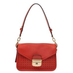 Longchamp Orange Perforated Leather Mademoiselle Top Handle Bag