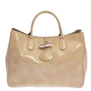 Longchamp Beige Patent Leather Roseau Tote