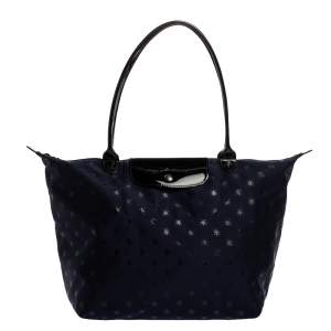 Longchamp Navy Blue/Black Star Print Nylon and Patent Leather Medium Le Pliage Tote