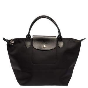 Longchamp Black Nylon and Leather Small Le Pliage Tote