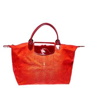 Longchamp Red Stingray Print Nylon and Patent Leather Le Pliage Neo Tote
