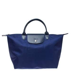 Longchamp Blue Nylon and Leather Le Pliage Neo Tote