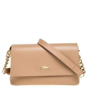 Longchamp Beige Leather Flap Crossbody Bag