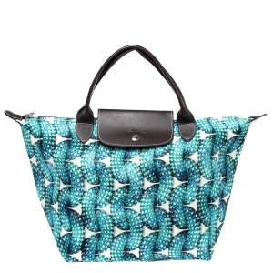 Longchamp Blue/Brown Fabric and Leather Surf and The City Le Pliage Tote