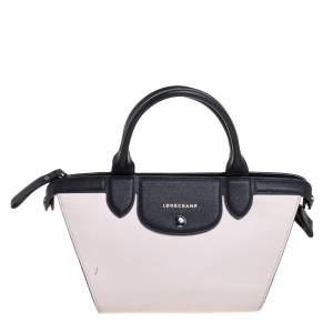 Longchamp Light Pink/Black Leather Le Pliage Cuir Tote