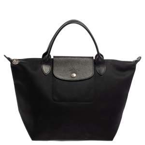 Longchamp Black Nylon and Leather Small Le Pliage Tote