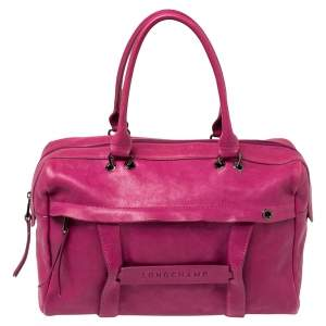 Longchamp Pink Leather Front Zip Duffel Bag