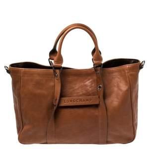 حقيبة يد لونج شامب  3 دى كبيرة جلد بنية