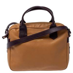 Longchamp Tan /Plum Leather Zip Detail Expandable Satchel